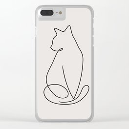 One Line Kitty Clear iPhone Case