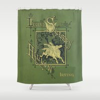 book cover Shower Curtains featuring Sleepy Hollow Antique Book Cover by Tiny Dragon Designs