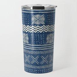 Mud Cloth Geometric Stripe Navy Travel Mug