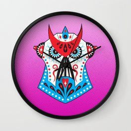 Sugar Skullatron - Pink Wall Clock