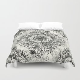 Messy Boho Floral in Charcoal and Cream  Duvet Cover