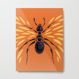 Winged Ant Fiery Orange Metal Print