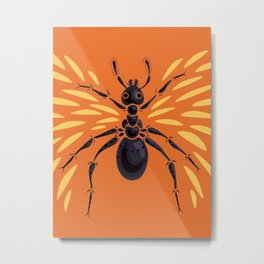Winged Ant Fiery Orange Metal Print