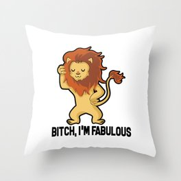 I'm Fabulous Funny Star Sign Lion Birthday Gift Throw Pillow