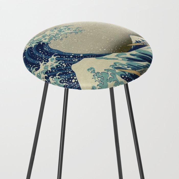The Great Wave off Kanagawa Counter Stool