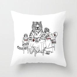 Have a Tiger to Tea Throw Pillow