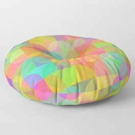 Vibrant Plaid and Circle Pattern Floor Pillow