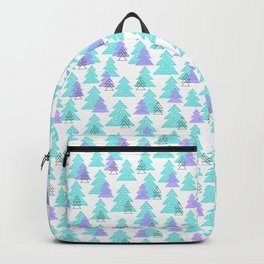 Cute winter design with mosaic pine trees. Backpack