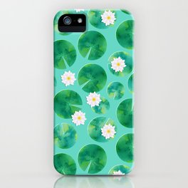 Lily Pads & White Water Lily Flowers iPhone Case