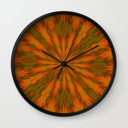 Autumnal Leaves Red Green and Amber Kaleidoscope Wall Clock