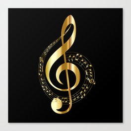 Treble clef surrounded by melody Canvas Print