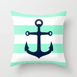 NAVY ANCHOR ON MINT Throw Pillow