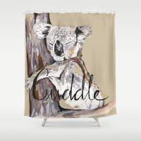 cuddle Shower Curtains featuring koala cuddle by Katy Lloyd