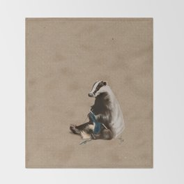 Badger Knitting a Scarf Throw Blanket
