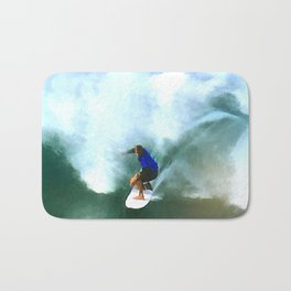 Surfing THE Big Wave on the Emerald Ocean Bath Mat