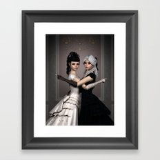 Beautiful Ladies and a difficult choice Framed Art Print
