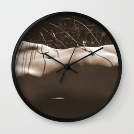 Nude Sunbathing Sepia Wall Clock