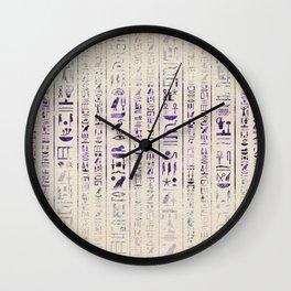 Amethyst Egyptian hieroglyphics on canvas Wall Clock