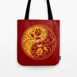 Yellow and Red Yin Yang Roses Tote Bag