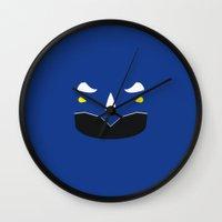 power ranger Wall Clocks featuring Blue Ranger Remix by hellostranger