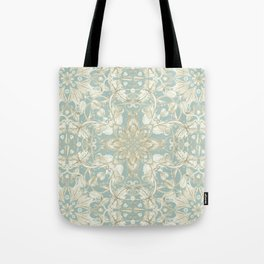 Soft Sage & Cream hand drawn floral pattern Tote Bag