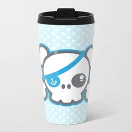 Kawaii Blue Pirate Caption Skull Metal Travel Mug