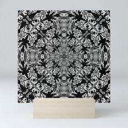 Nordic Style Fallen Leaves Black and White Kaleidoscope Mini Art Print