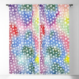 Rainbow Clouds with White Pawprints Blackout Curtain