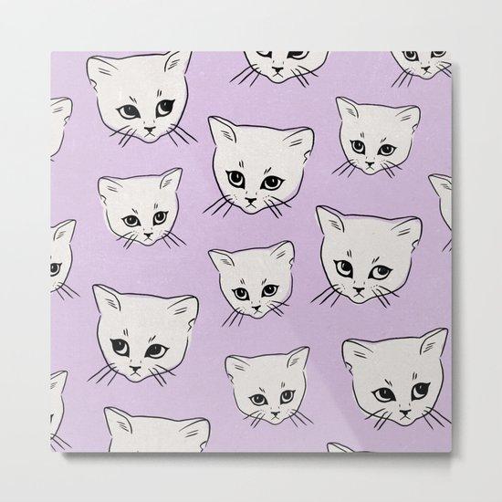 Cat Pattern x Purple Metal Print