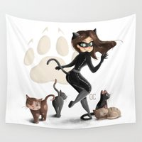 catwoman Wall Tapestries featuring Little Catwoman by CookiesOChocola