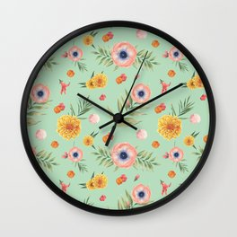 Hand painted coral yellow watercolor geometric floral Wall Clock
