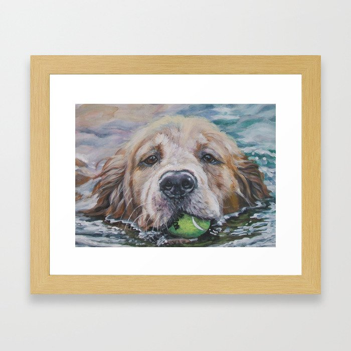 GOLDEN RETRIEVER dog portrait painting by L.A.Shepard fine art Framed Art Print