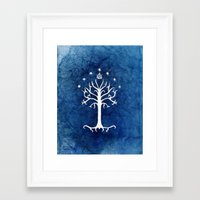 aragorn Framed Art Prints featuring The White Tree by Jackie Sullivan