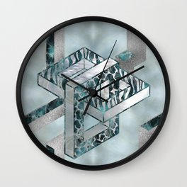 Abstract 3D Geometric Labradorite on Mother of pearl Wall Clock