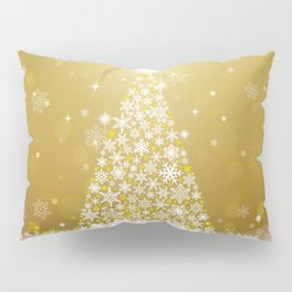 Gold Snowflakes Sparkling Christmas Tree Pillow Sham
