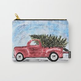 Vintage Red Christmas Truck with Tree Watercolor Carry-All Pouch