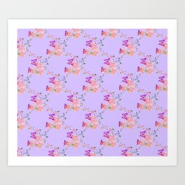 Butterflies Flowers Tiny Hearts Art Print