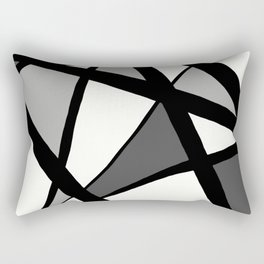 Geometric Line Abstract - Black Gray White Rectangular Pillow