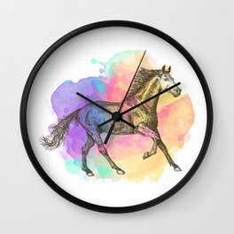 Colorful Horse Gift Horse Lovers Racing Riding Wall Clock