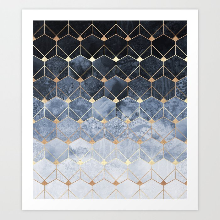 Blue Hexagons And Diamonds