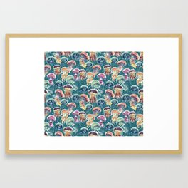 pattern with a lot of watercolor multicolored jellyfishes Framed Art Print
