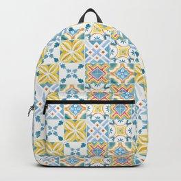 Blue and yellow Brazilian tiles Backpack
