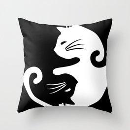 Yin yang cats Throw Pillow