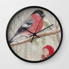 Bullfinch and Gnome-girl - Christmas Wall Clock