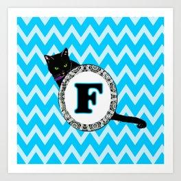 Letter F Cat Monogram Art Print