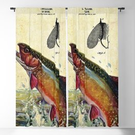 Vintage Trout Fly Fishing Lure Patent Game Fish Identification Chart Blackout Curtain