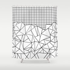Abstract Grid #2 Black on White Shower Curtain