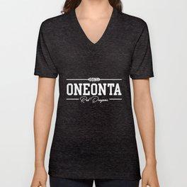 SUNY Oneonta NCAA oneonta red dragons teacher T-Shirts Unisex V-Neck