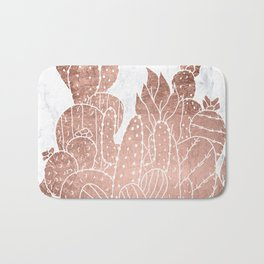Modern faux rose gold cactus hand drawn pattern illustration white marble Bath Mat