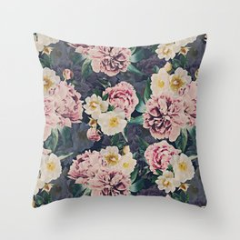 Vintage & Shabby Chic - Antique Sepia Midnight Roses And Peonies Botanical Garden Throw Pillow